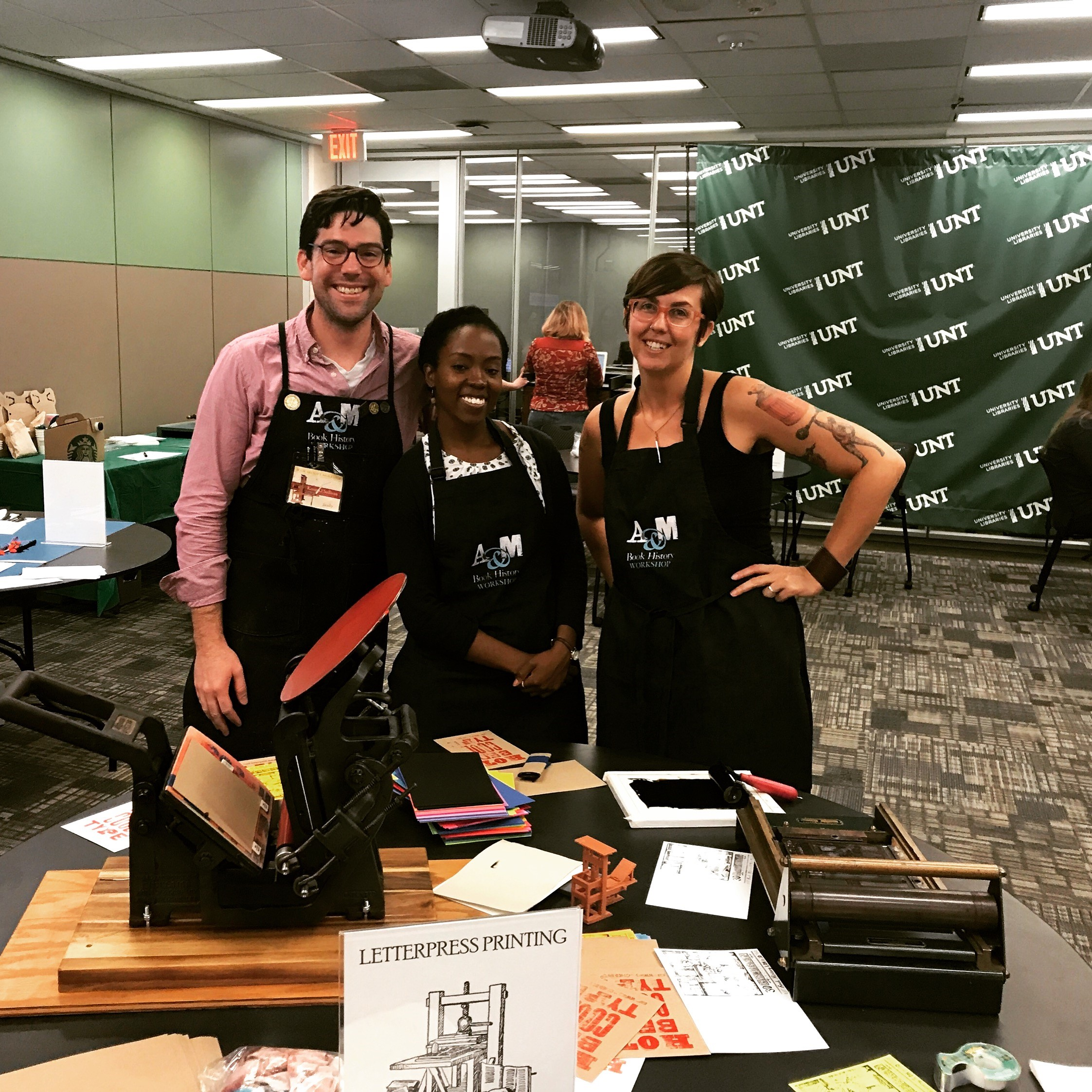 (From left to right) Kevin O'Sullivan, Marcia McIntosh, and Courtney Jacobs (or the 3Dhotbed crew), hosted a hands-on book history workshop for Digital Frontiers 2017.