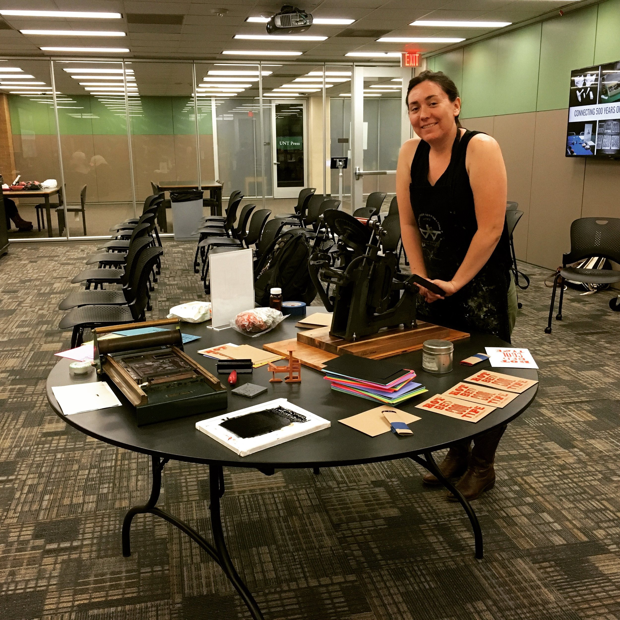 Artist and 3Dhotbed partner Syd Webb led a printing station with a platen press from her letterpress studio, 4 ACRE PRESS.
