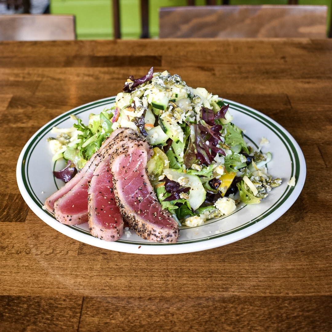 seared ahi revolver salad lunch at the smoking gun sd bloody mary obsessed.jpg