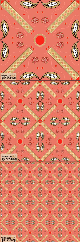 """3 pattern tiles representing """"Desert Rose"""" -  ©Rebecca Gerendasy"""