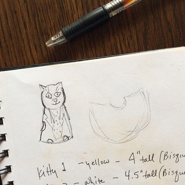 My initial cat image sketch from a dream.