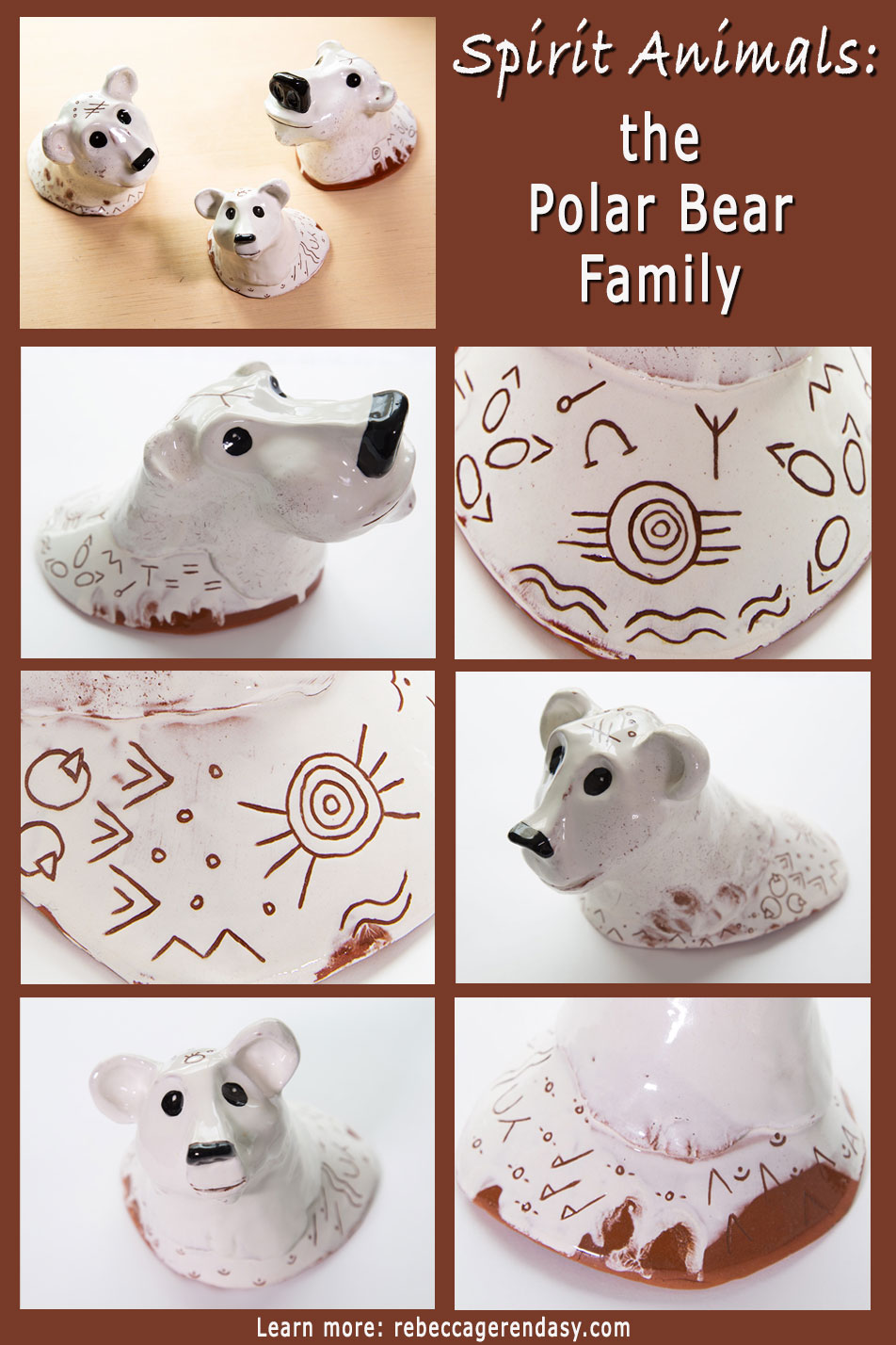 The Polar Bear Family is from the Spirit Animal series. Decorated in Shamanistic and Aboriginal symbols, Hubert (papa bear) is the hunter/leader, Jane (mama bear) is the Spiritual healer, and Angie (baby bear) is pure and full of possibilities.Each ceramic sculpture is hand-built from red clay and decorated with sgraffito marks through the white slip.