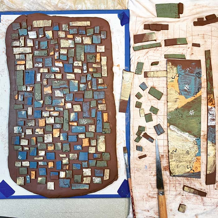 Making a Mosaic Design On Clay. - Rebecca Gerendasy Clay - Art