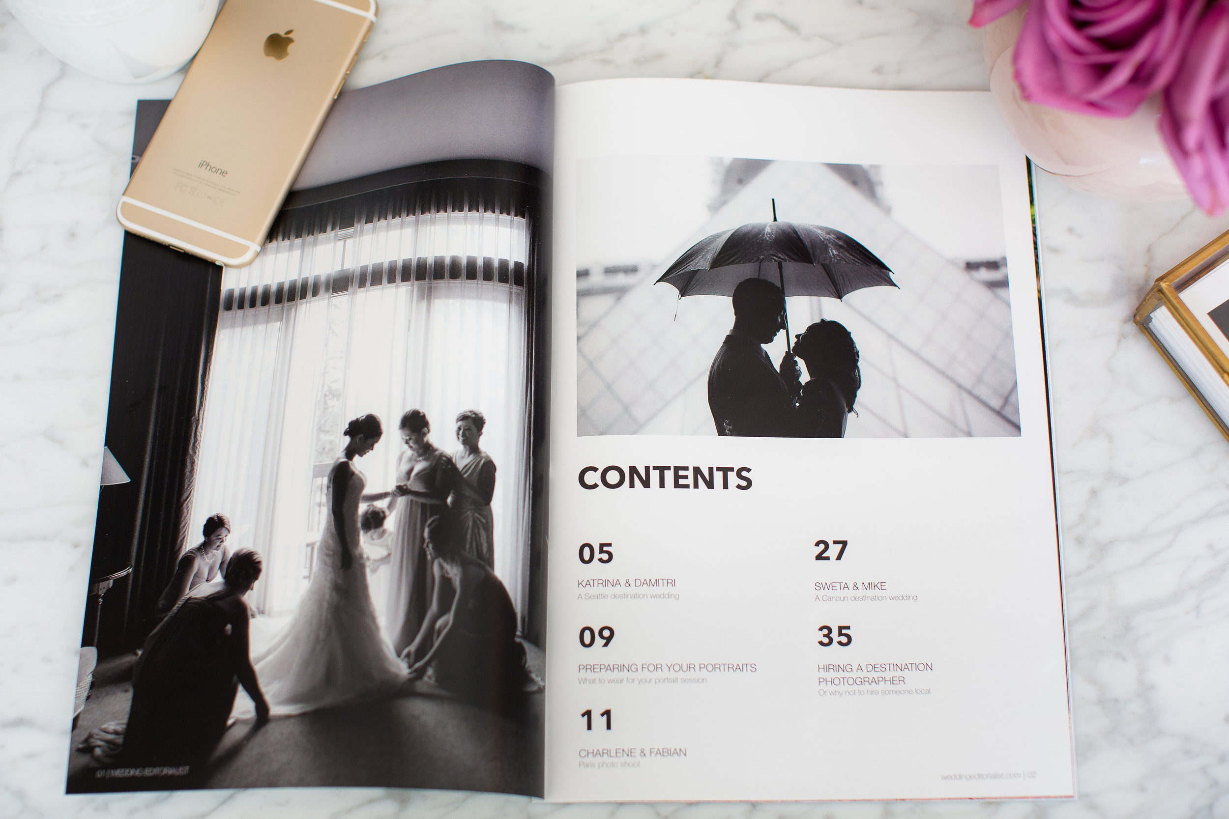 An entire wedding magazine dedicated to you from cover to cover.  In print, and available online. Photo courtesy of T and R Stock.  www.weddingeeditorialist.com #weddingmagazine #weddinggift #weddingfavor