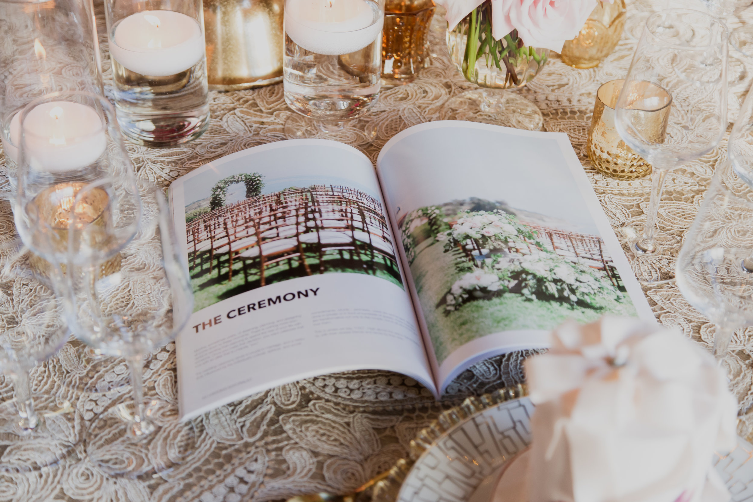 Stylish couples love having their weddings published.  Personalized wedding magazines!  Made to order for couples in love.  Photo by Adam Frazier.