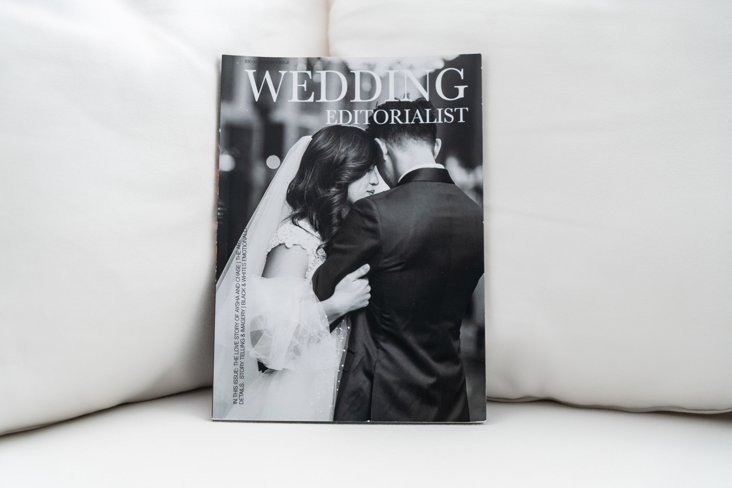 Black and white cover of a wedding magazine