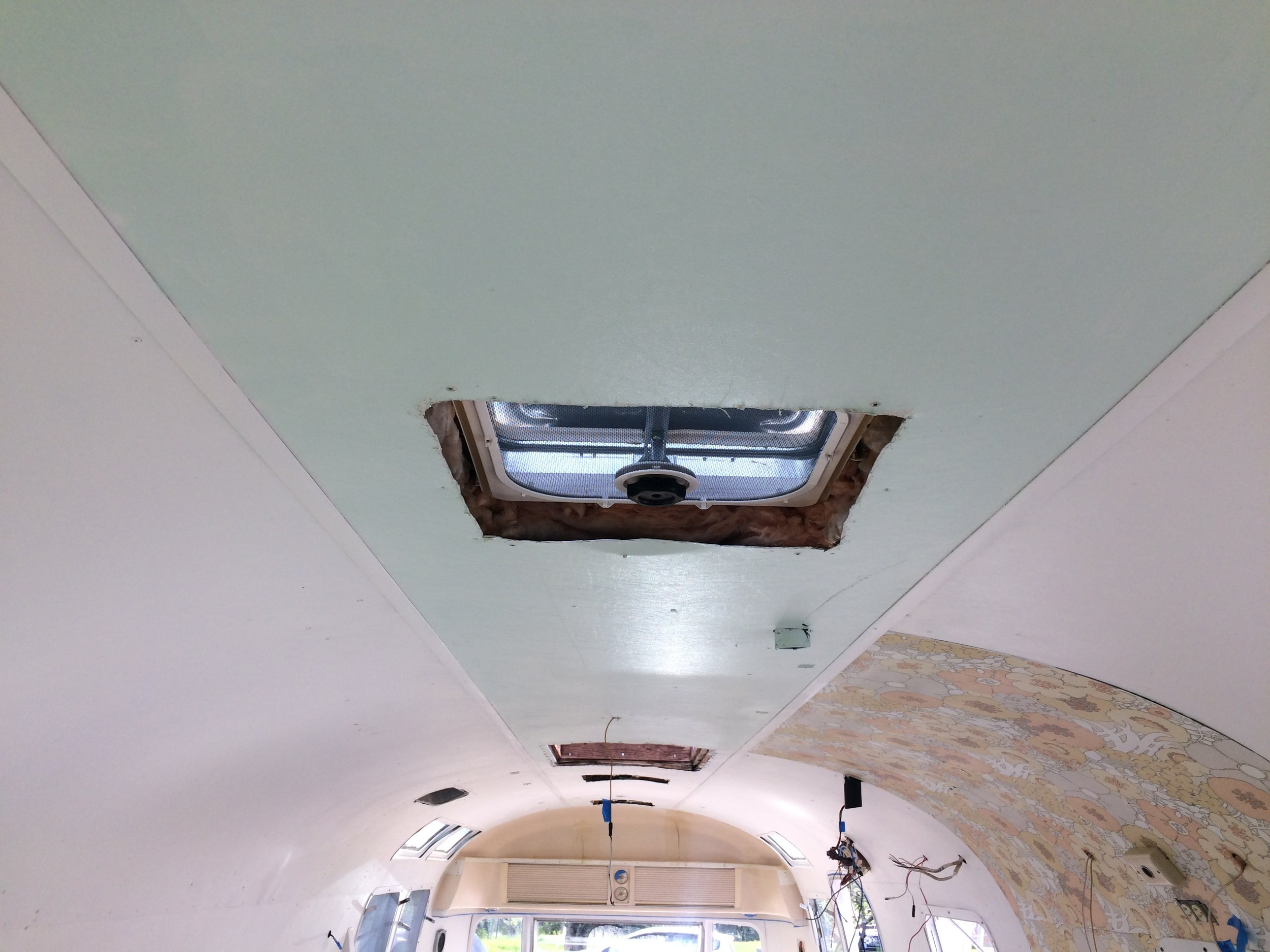 The new ceiling, with new, operational, and DRY vents.