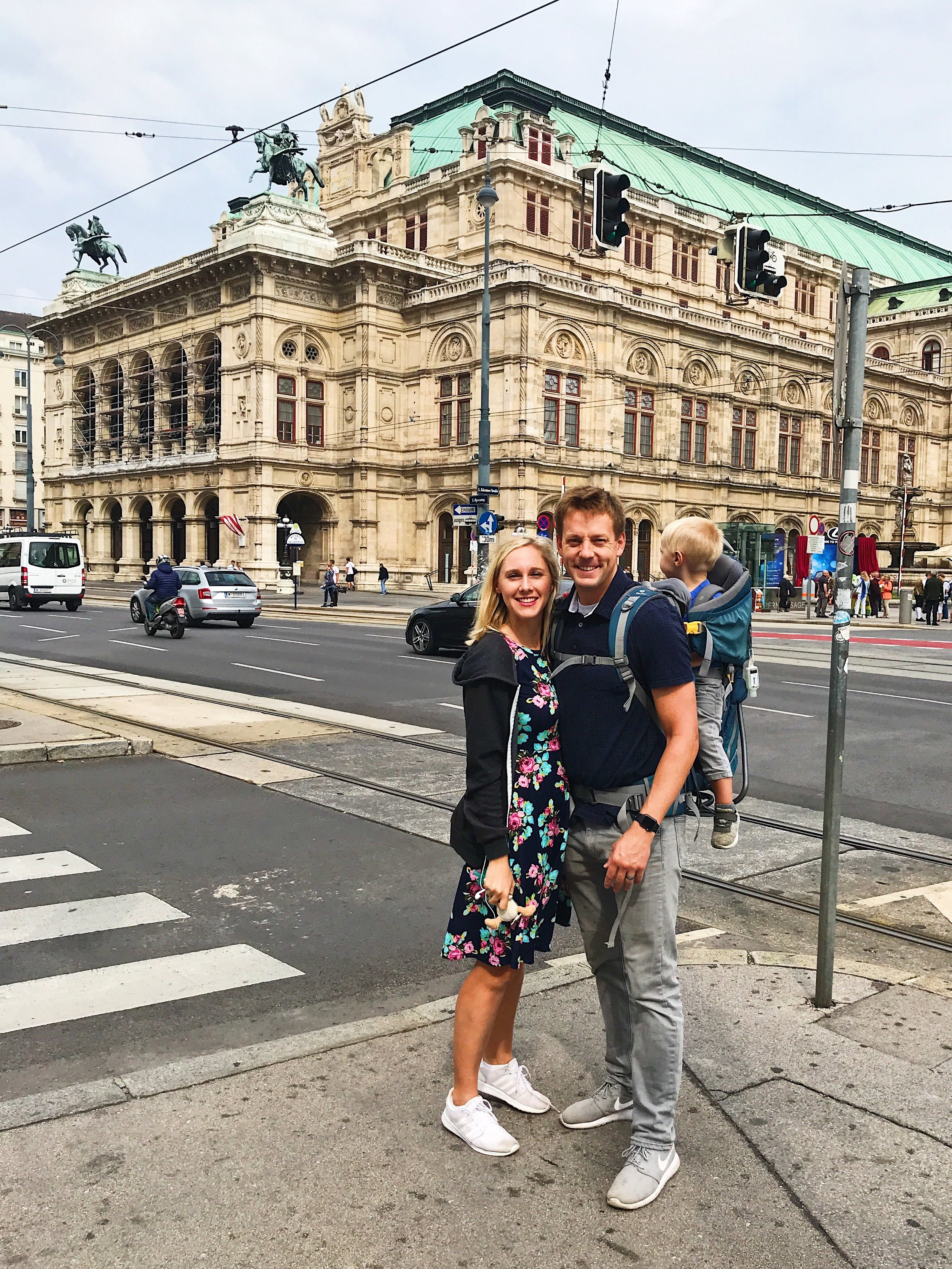 Trip to Austria: $489 RT on american airlines during Peak summer Travel time. Obviously the baby was more impressed with the vienna opera house than the camera.
