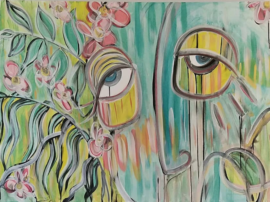 """Untitled 36x48"""" Ink and acrylic paint on canvas 2018"""