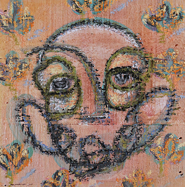 """Untitled 6x6"""" Oil pastel on wood 2017"""