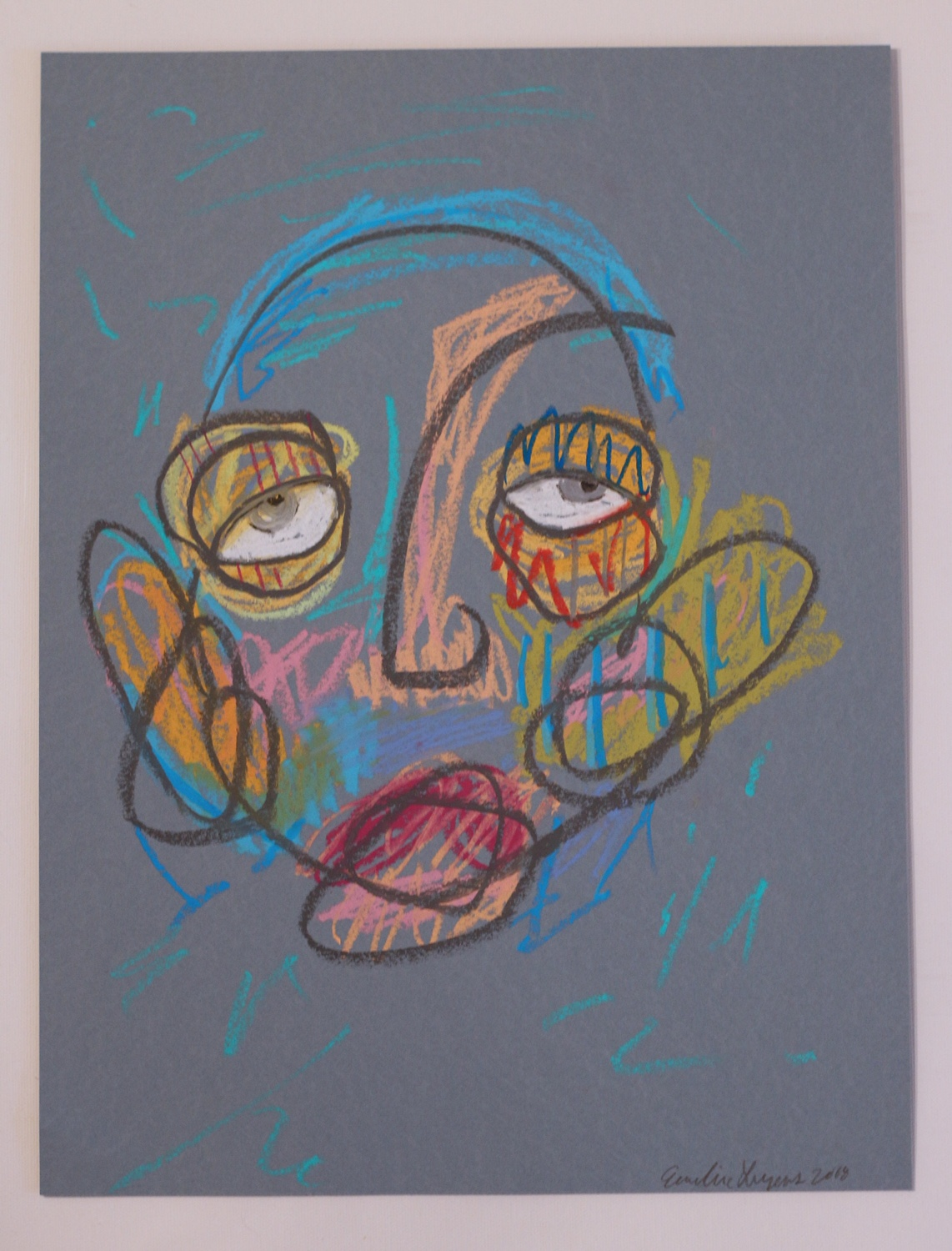 """Untitled 12x16"""" Oil pastel on paper 2017"""