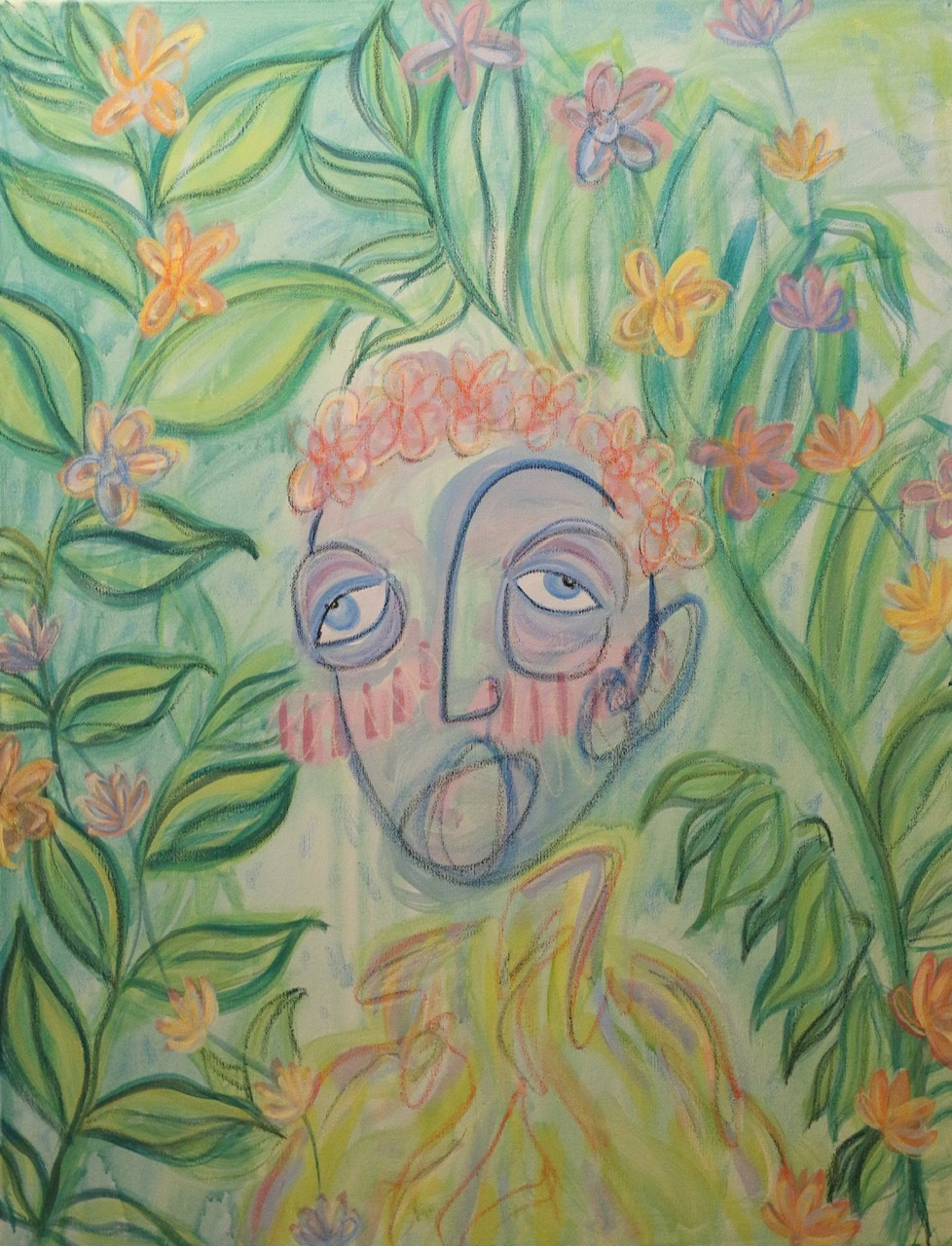 """Garden Guy 18x24"""" Acrylic paint and oil pastel on canvas 2018"""