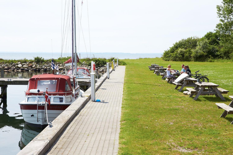 Hyggeligt miljø omkring Vejrø Marina