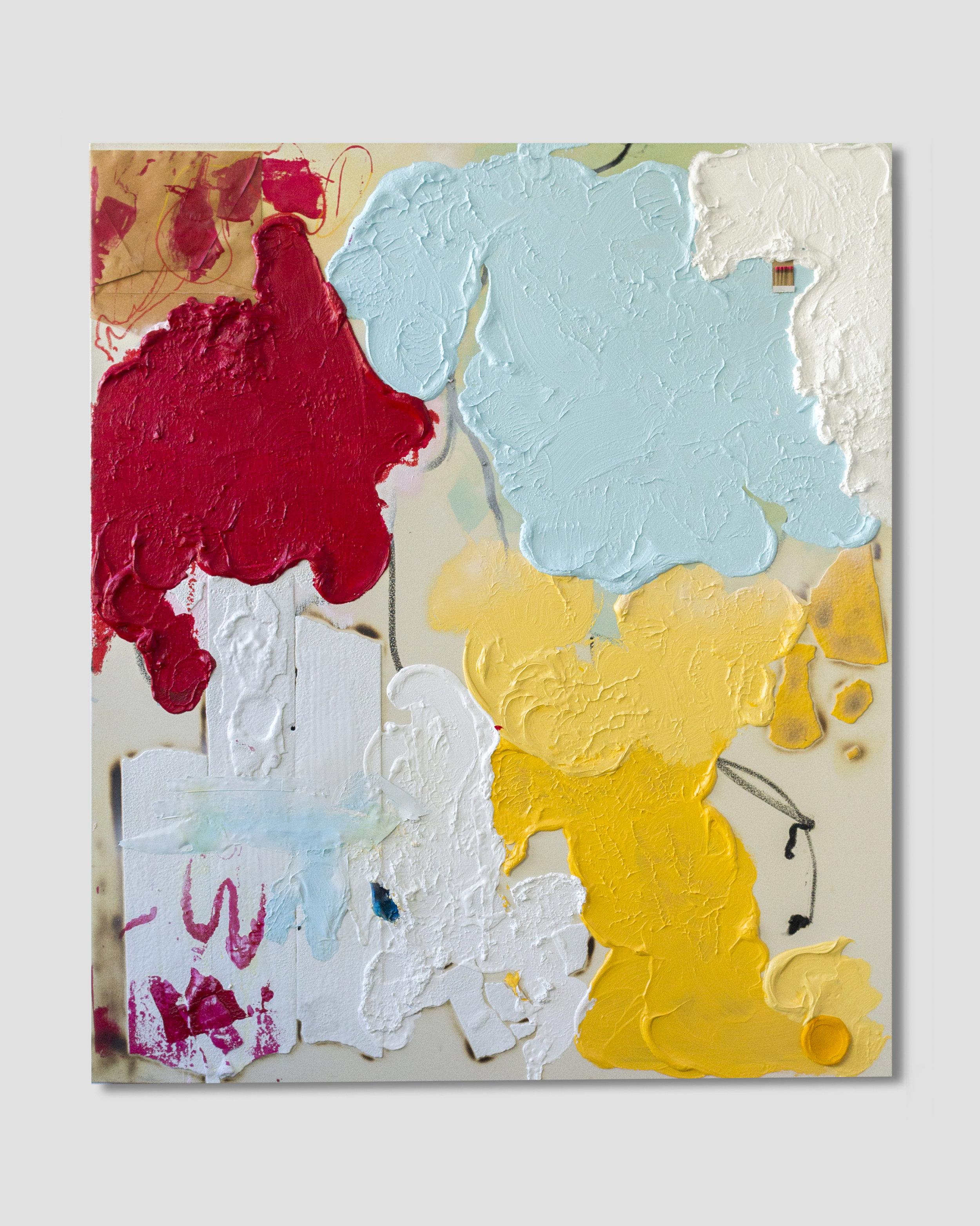 Peinture De La Vie ,  Oil, acrylic, collaged envelope and thermoplastic on canvas  56.3 in x 66.1 in, (143 cm x 168 cm)