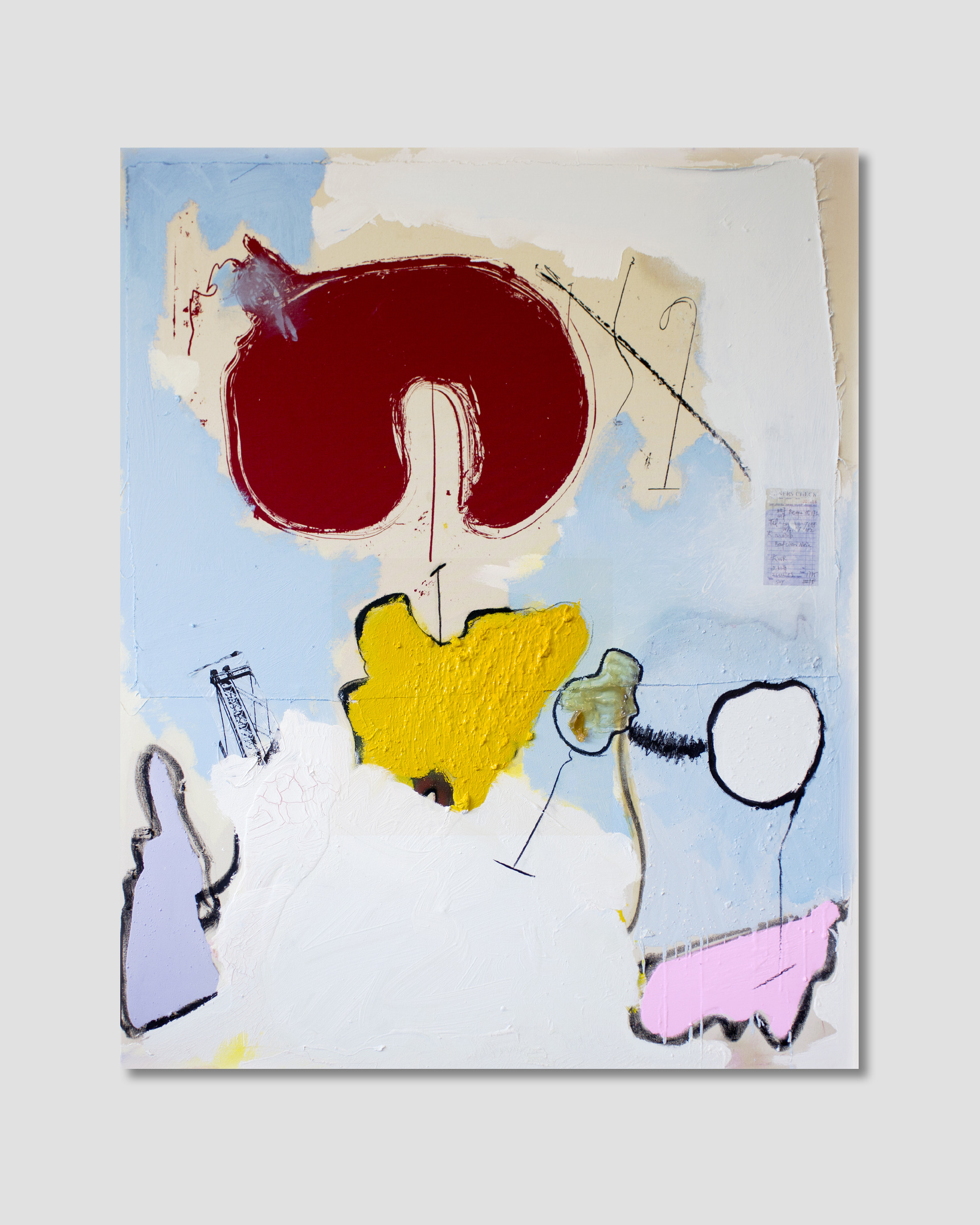 The Best Americans Are In Paris,  Oil, acrylic, charcoal, collaged paper, plastic and silkscreen on canvas  59 in x 78.7 in, (150 cm x 120 cm)