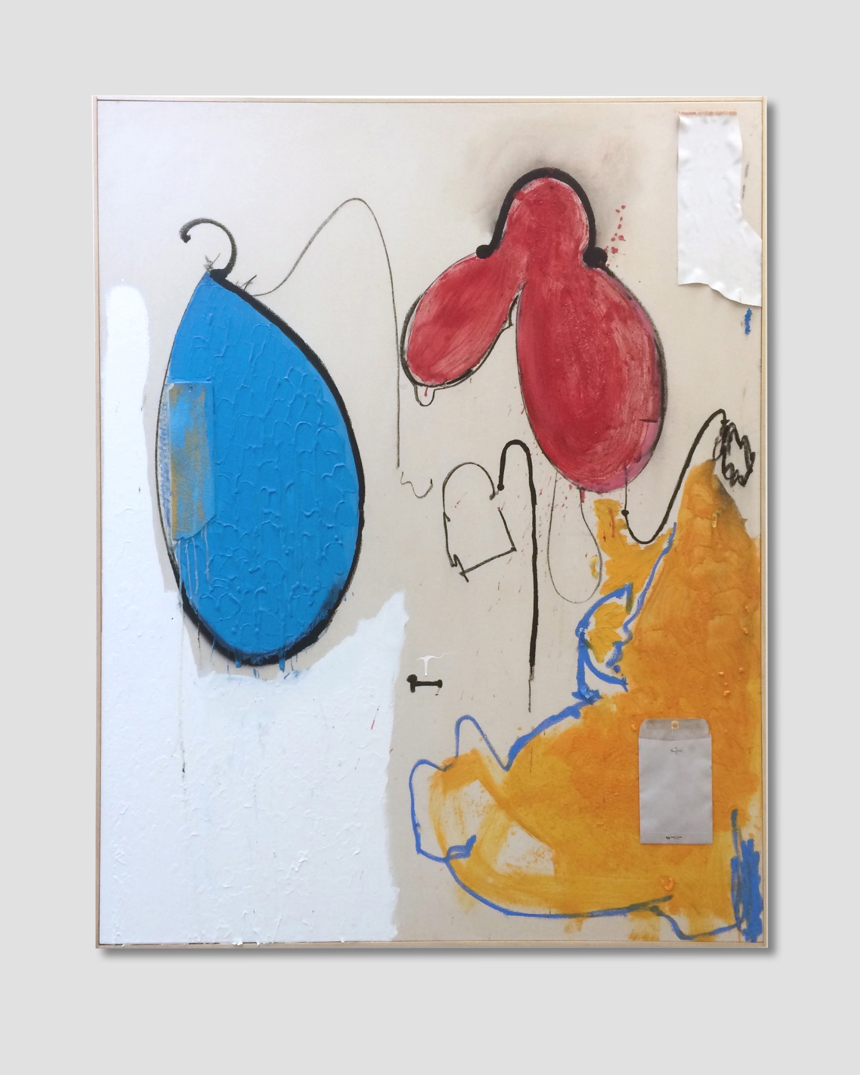 Untitled,  Oil, enamel, acrylic, spray paint, nailed thermoplastic and collaged paper on canvas  74.8 in x 59 in, (190 cm x 150 cm)