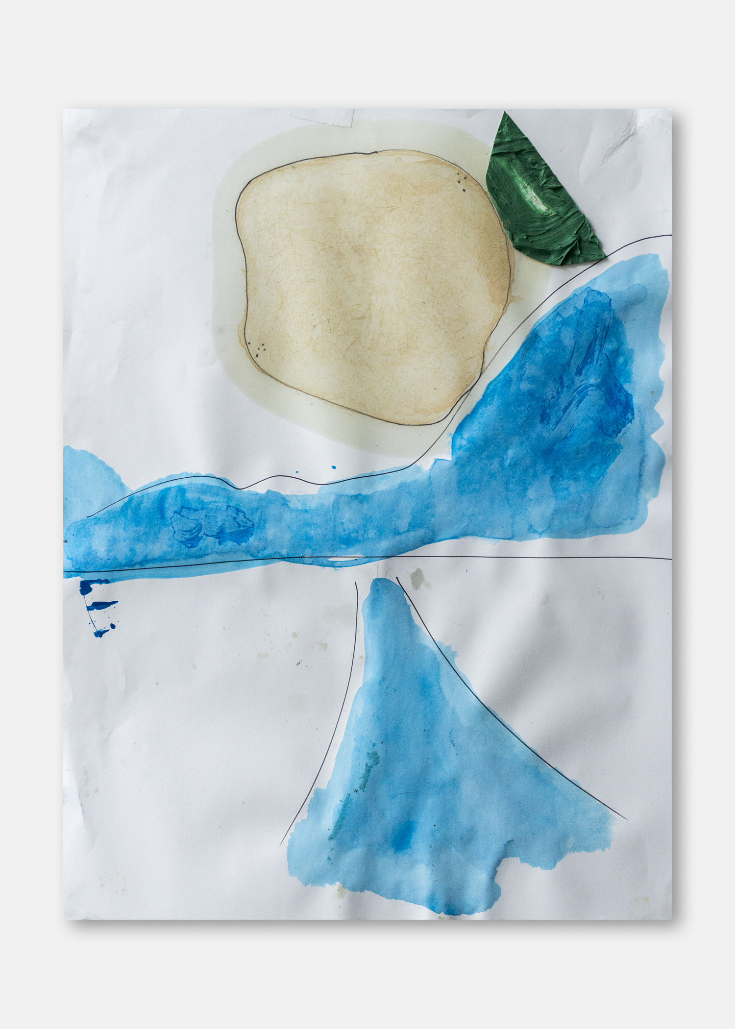 Untitled  Pigment and collaged acrylic on paper  45.5 x 61 cm  24 x 18 in