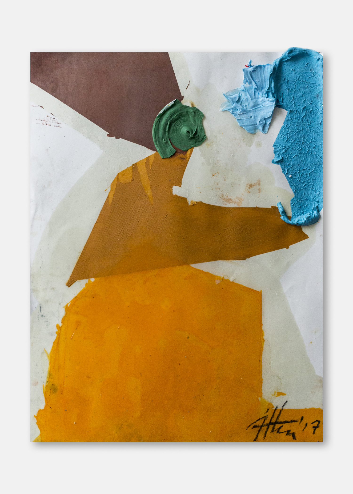 Untitled  Pigment, acrylic and collaged acrylic on paper  45.5 x 61 cm  24 x 18 in