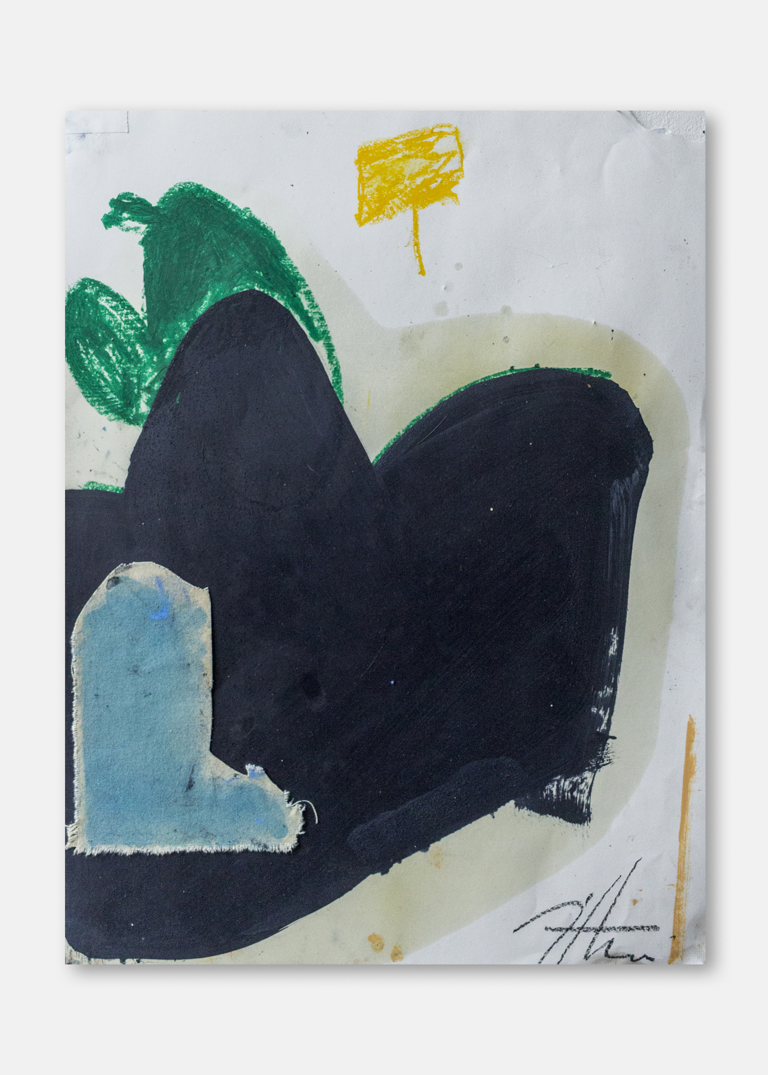 Untitled  Oil, pigment and collaged fabric on paper  45.5 x 61 cm  24 x 18 in