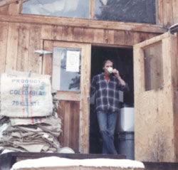 Our founder in the original 300 square foot woodworking shop where Silver Canyon Coffee started.