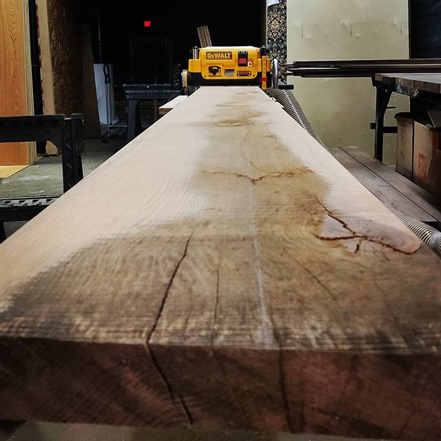 Taking the long view. #diyoung #12ftlongslab #oak #woodwork #planeplaneplane #dewalttools #bhtables
