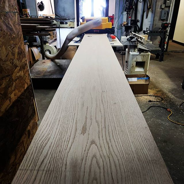 Finally got these to the right thickness. 1.80  inches for those keeping count. It's amazing the surface the planer revealed. #woodwork #diyoung #planeplaneplane #bhtables #oak