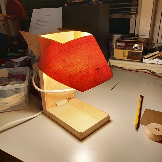 Prototype bedside #lamp. Still need to add a switch, but the concept appears to work. #diyoung #prototype #verneer #nofilter #translucent