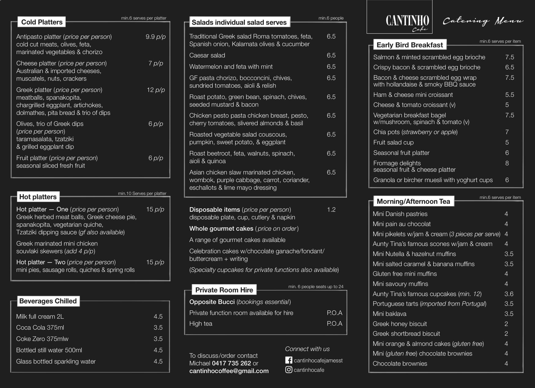 catering menu cantinho brisbane