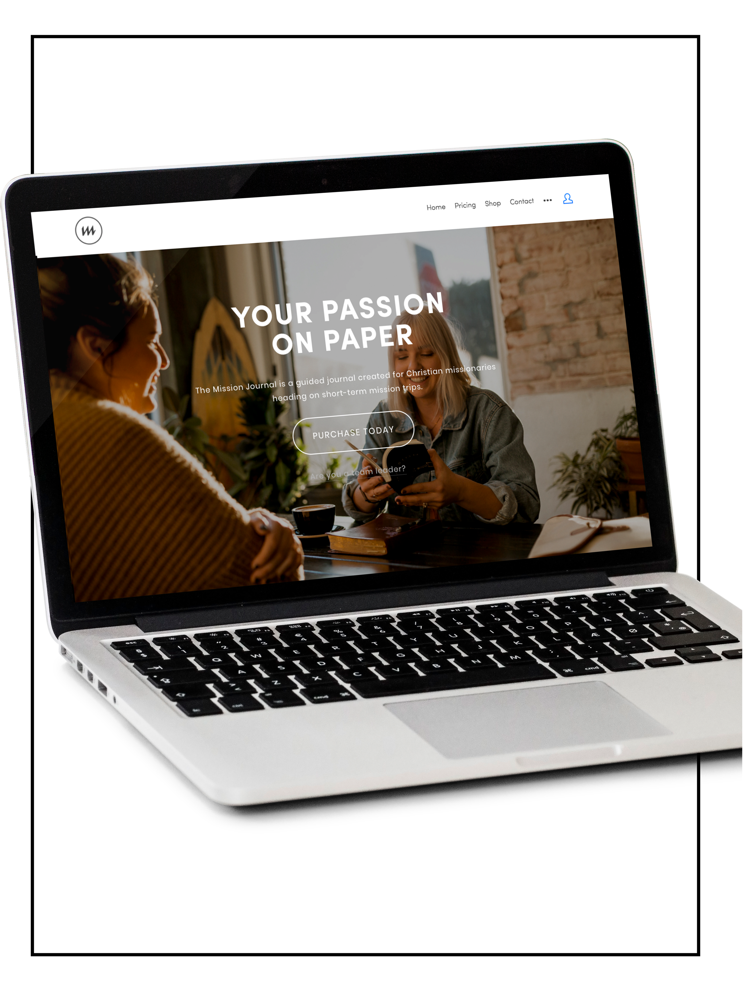 Showcasing an image of a laptop with a website build of Spacebar Agency - the Mission Journal