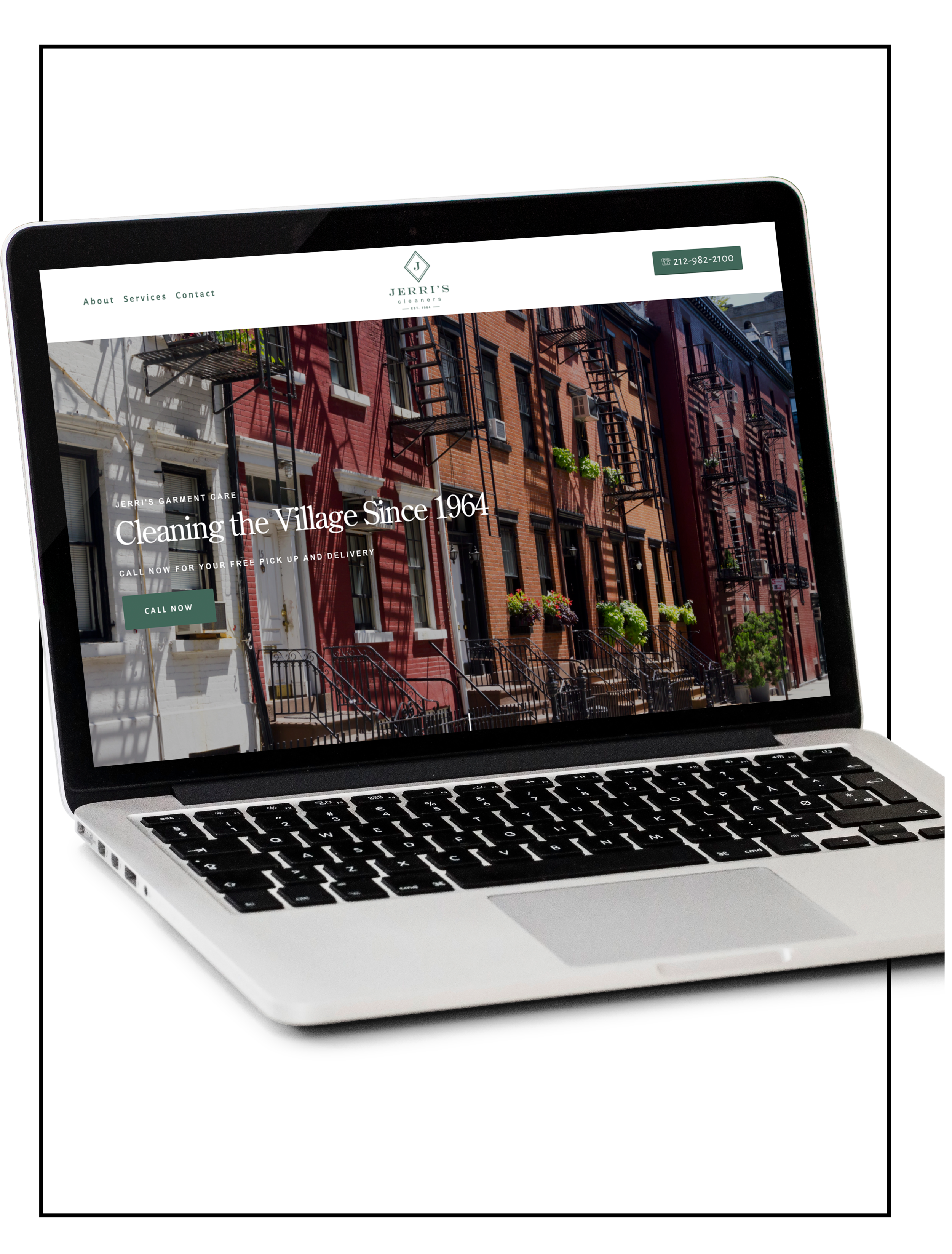 Showcasing an image of a laptop with a website build of Spacebar Agency -  Jerri's Cleaners