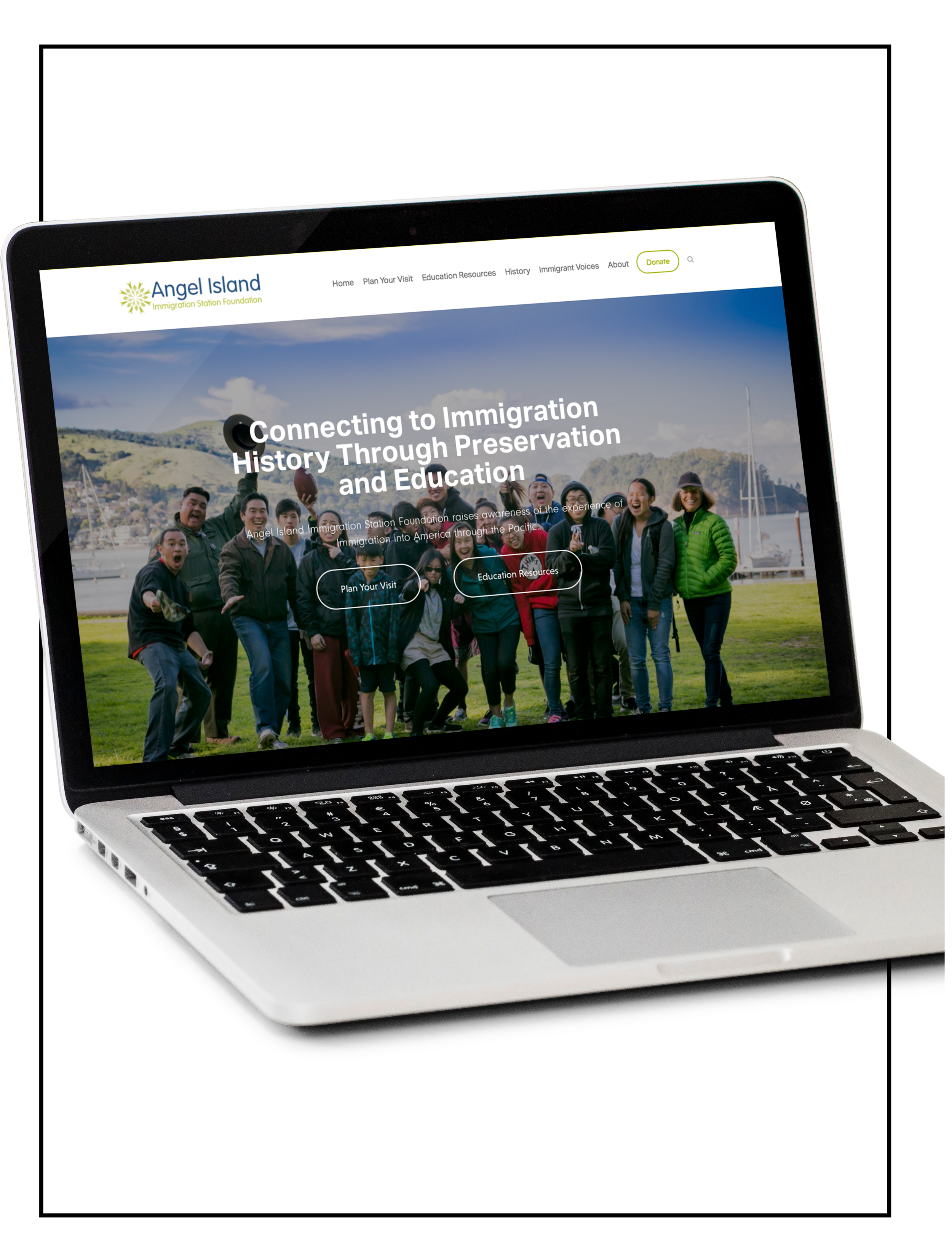 Showcasing an image of a laptop with a website build of Spacebar Agency -  AIISF Non Profit - SF