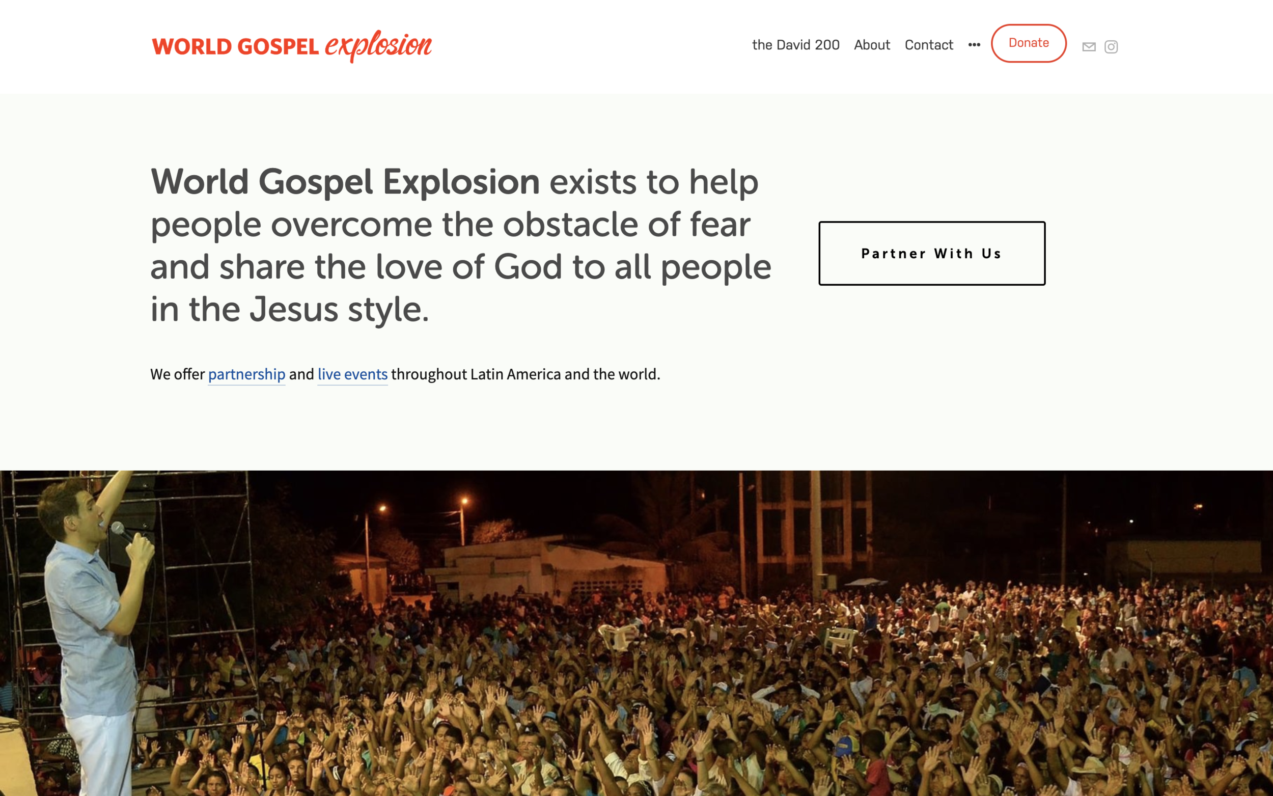 andrewfriesen.org - Clean Squarespace Website DesignWorld Gospel Explosion is on a mission and needed their website to work as hard as they do. This custom Squarespace website is fully responsive and incorporates a unique design.