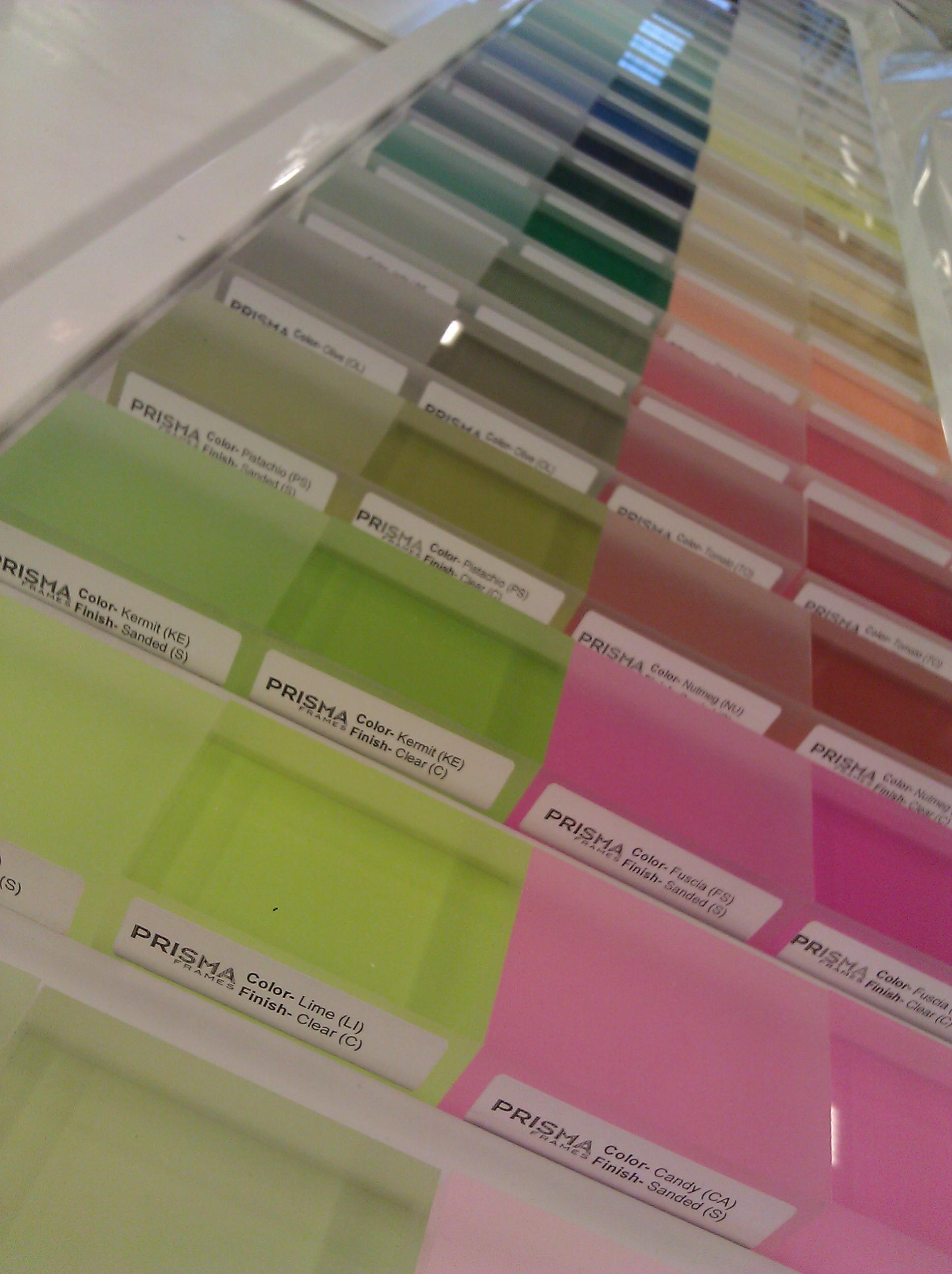 Prisma Color Chips on Presentation Board