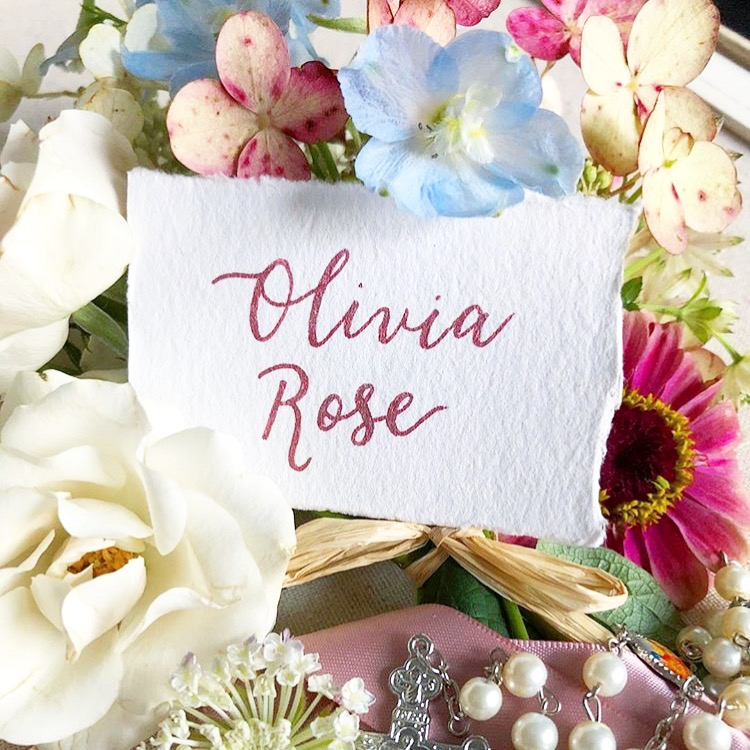 Christening Place Cards in Pink Calligraphy