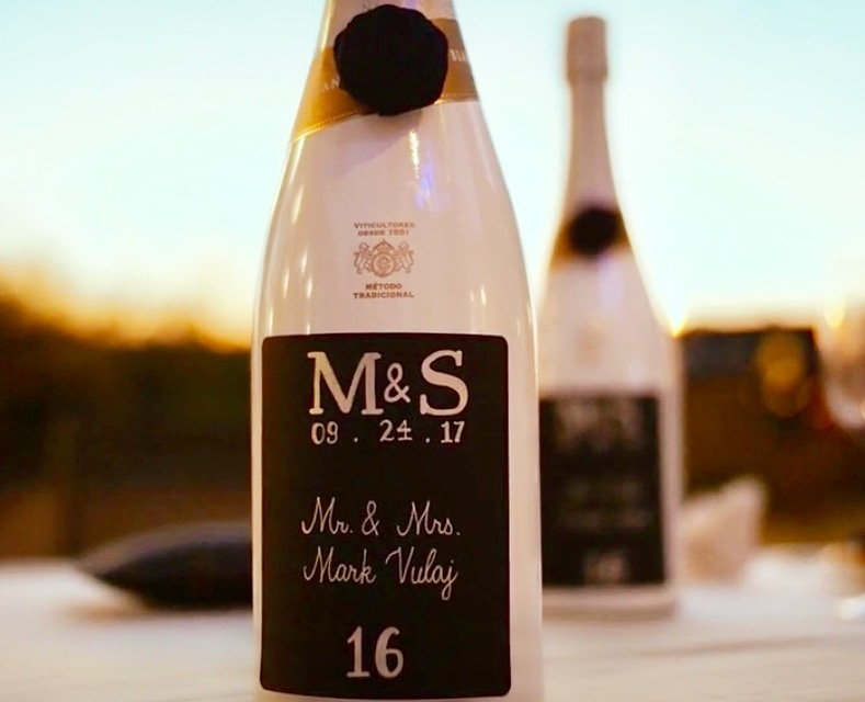 Champagne Bottle Escort Cards