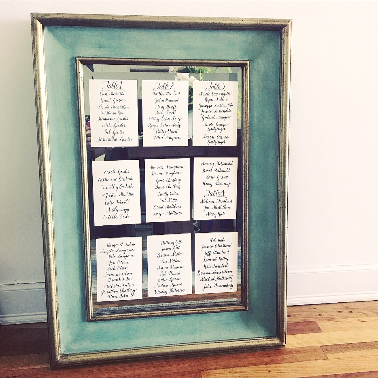 Mirror + Paper Seating Chart