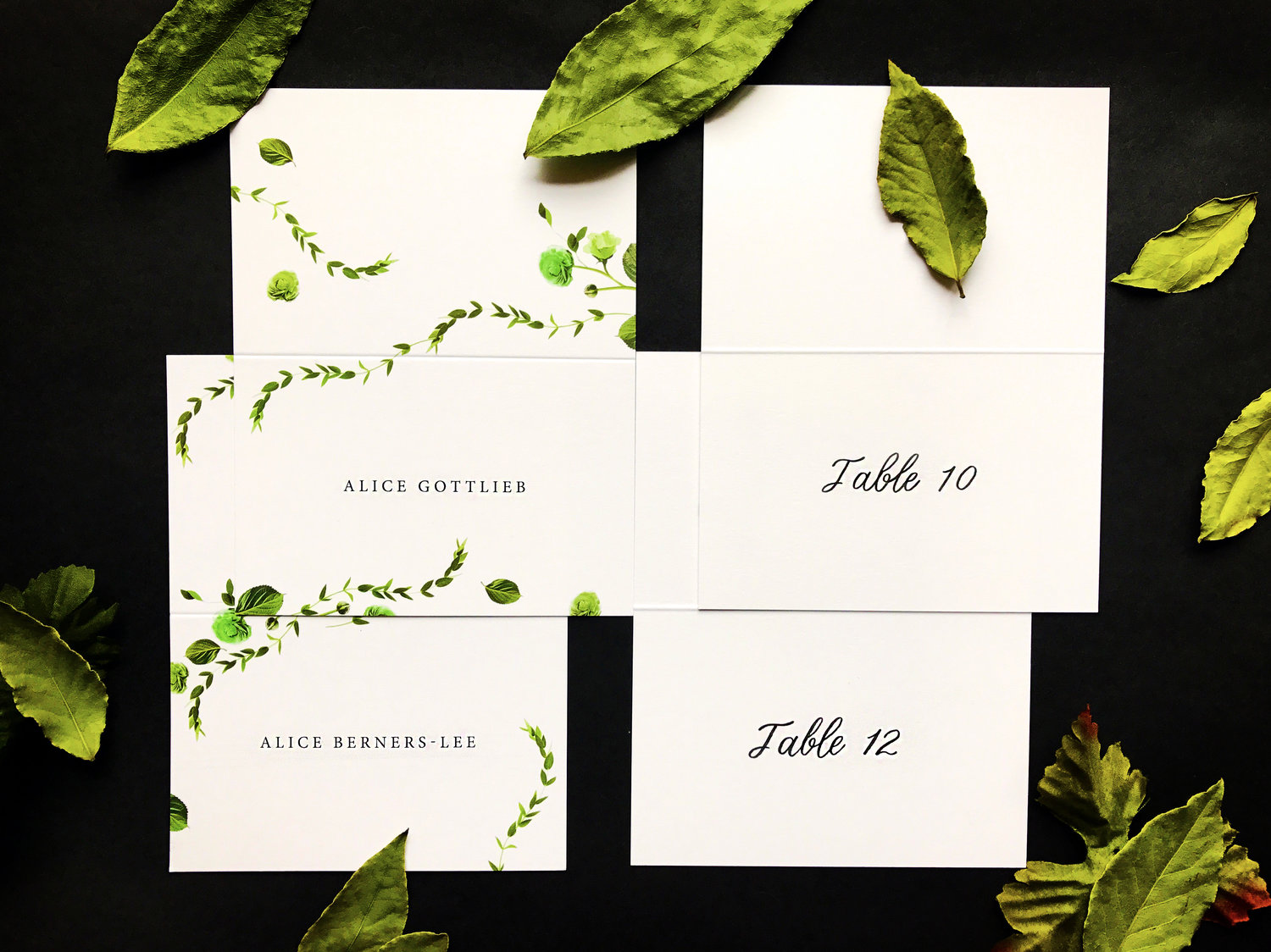 Custom Botanical Place Cards