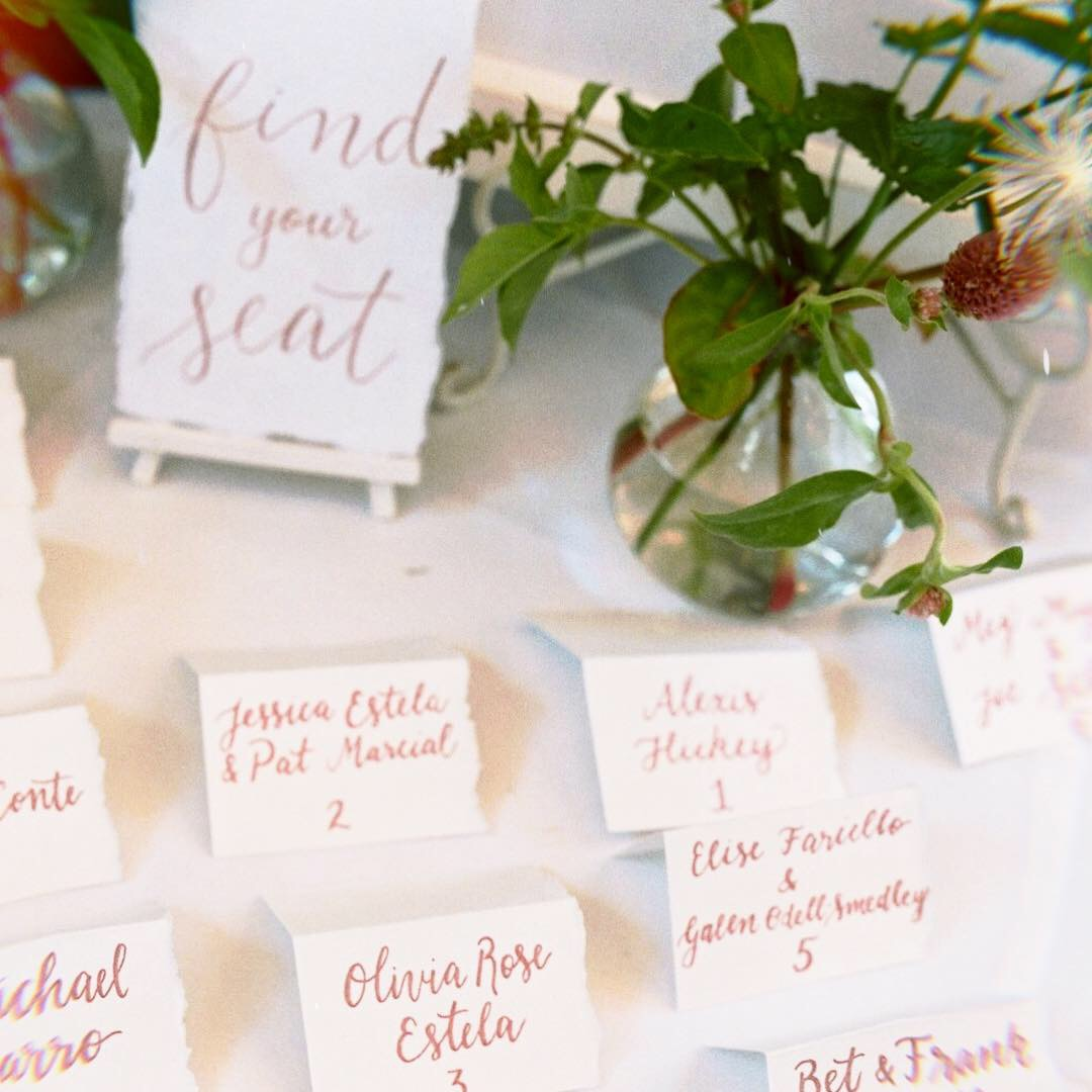 Classic Escort Cards in Pink Calligraphy