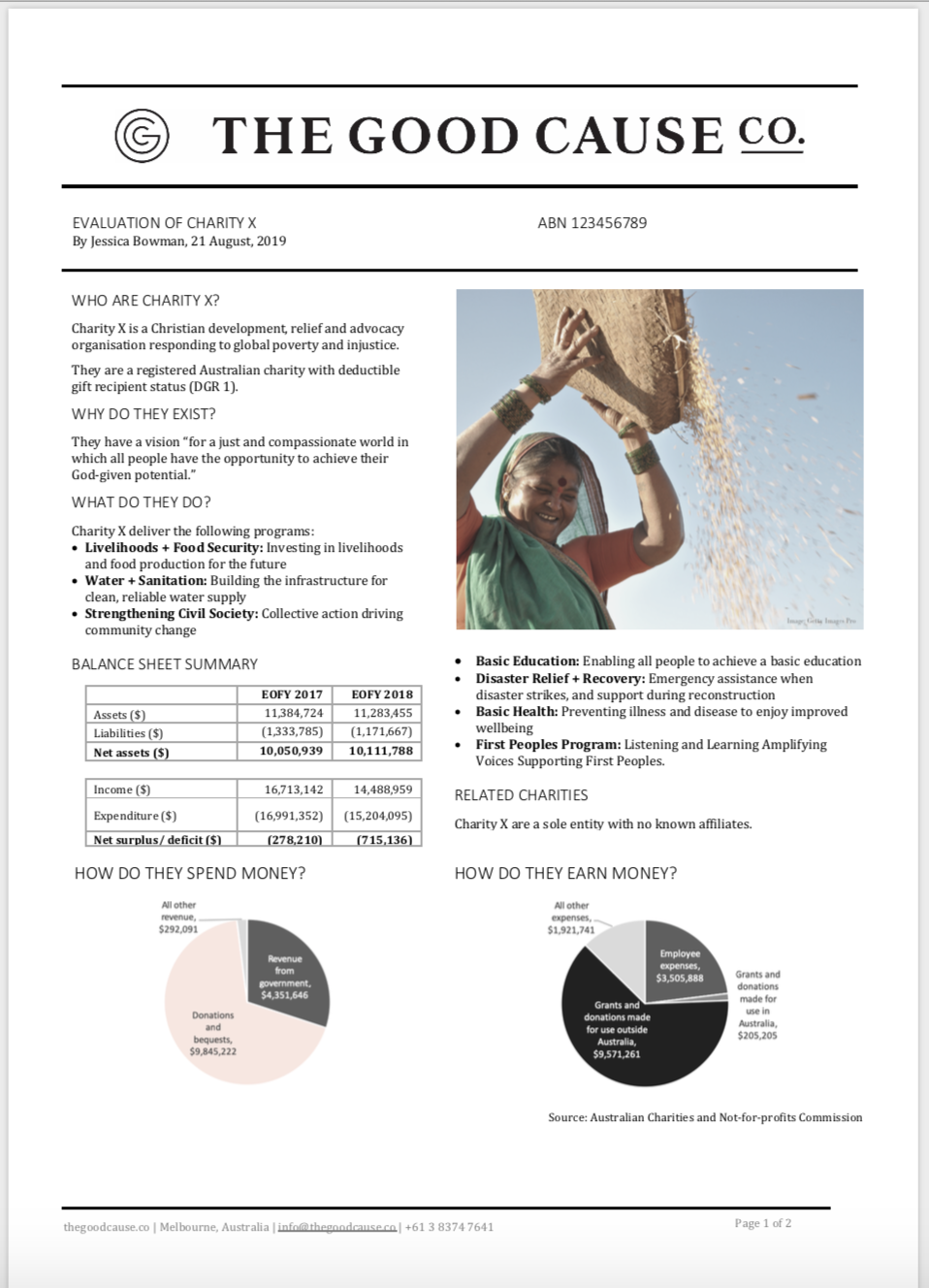 Independent Evaluation Sample Charity Page 1