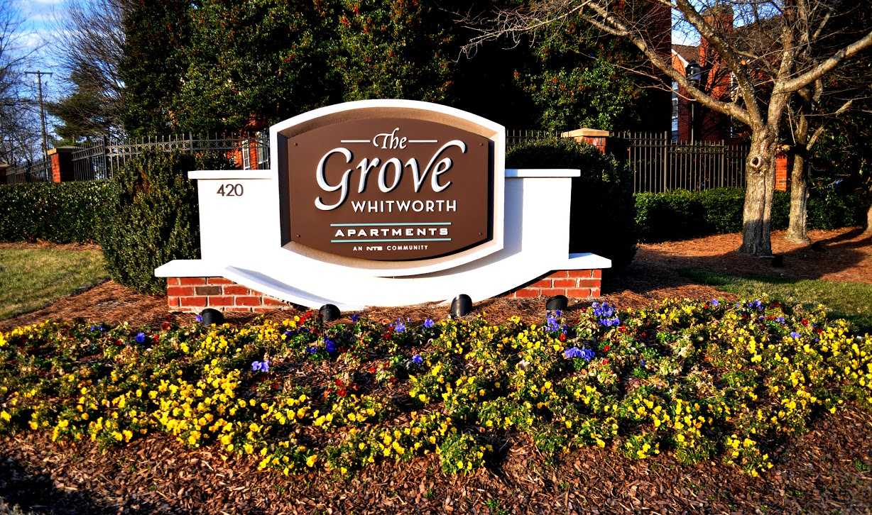 The Grove at Whitworth, one of NTS Development Company's properties and Old South Client for 12 years. For this project, The Grove at Whitworth hired us to freshen a 15-year old property's overgrown, tired landscape. 12 years later, our properly maintained work still wins  awards .