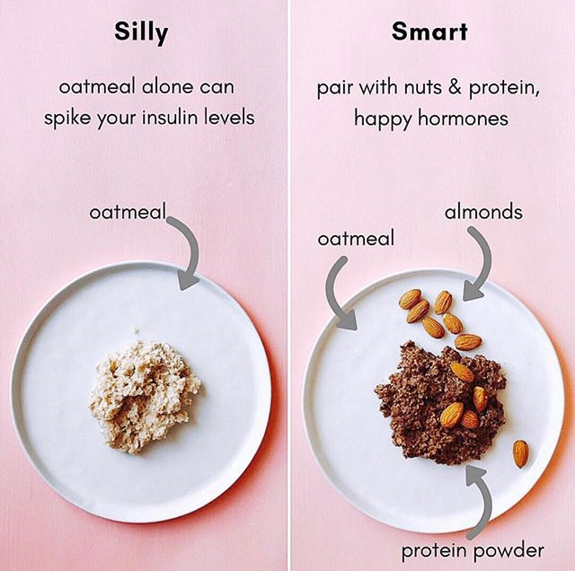 Question! How do you prepare your oatmeal? . . Oatmeal on it's own can be absorbed too quickly in your digestive system. This will raise your blood sugar levels causing a spike of insulin production. Pair your oatmeal or carbohydrates with some healthy fats and proteins to slow down it's absorption.. . . Click the link in my bio or send me a DM to receive an invitation to join The Cysterhood and learn more PCOS tips!♥️✨