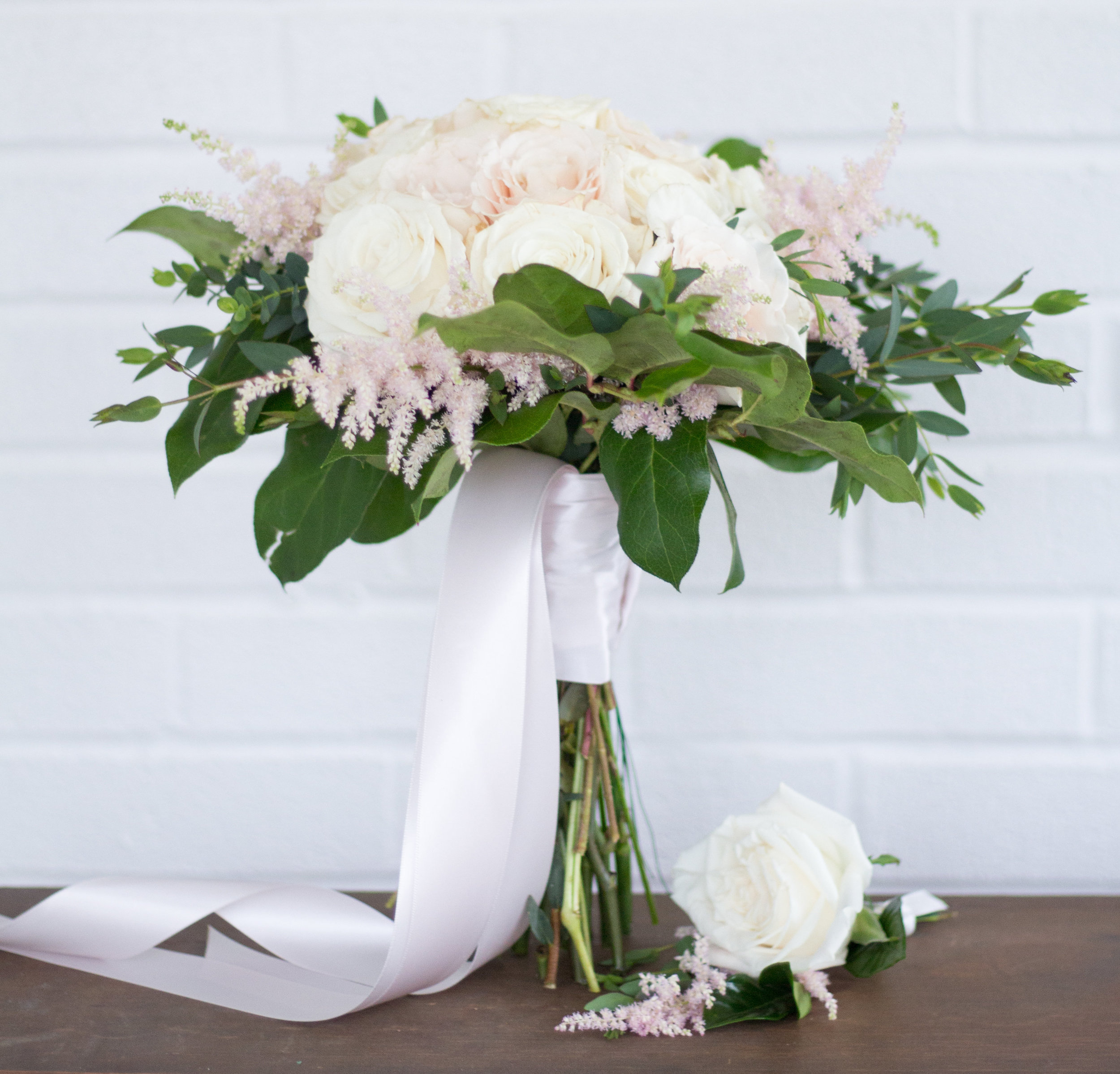 Love & Luster Floral Design Blush Rose Bouquet with Pink Astilbe