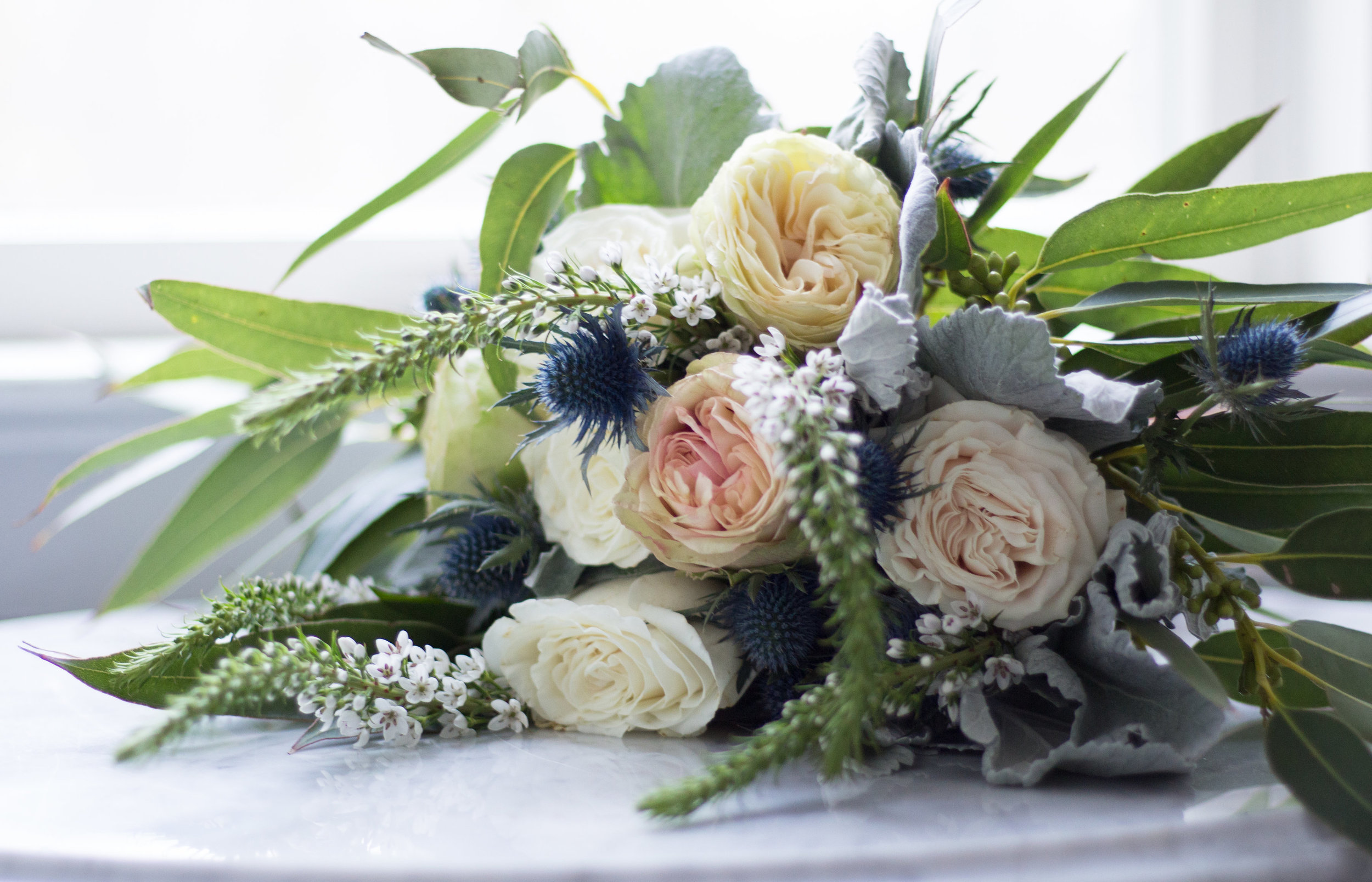 Love & Luster Floral Design Bridal Bouquet with Blush Garden Roses, Thistle and Eucalyptus