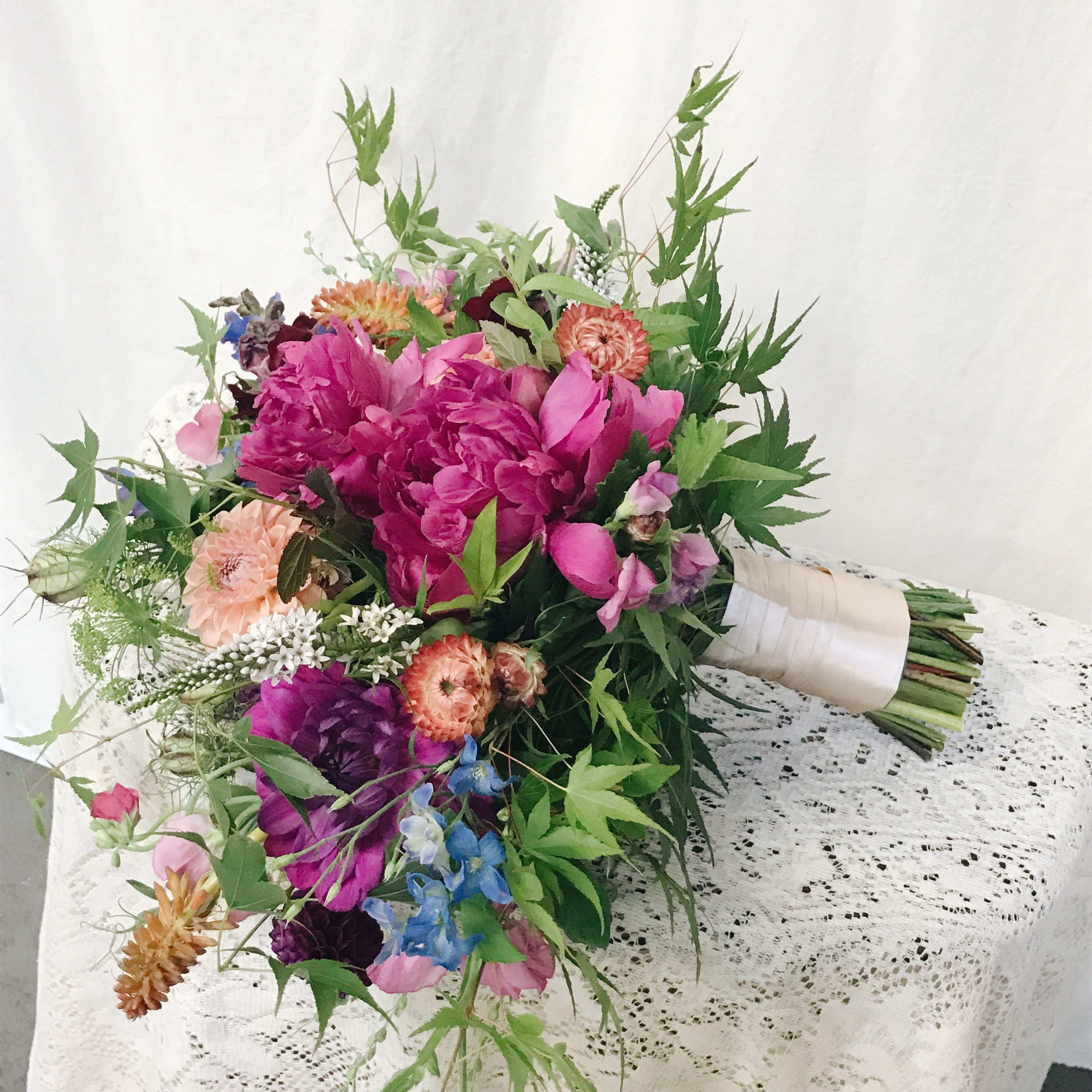 Love & Luster Floral Design Local Bridal Bouquet with Pink Peonies, Orange and Peach Dahlias