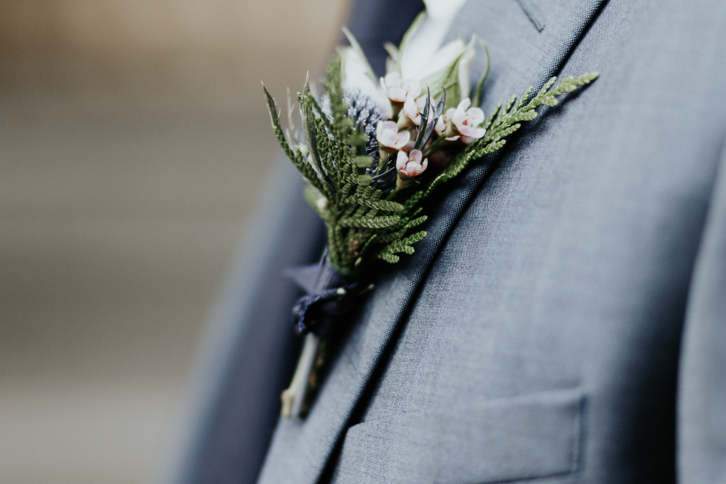 Waxflower and thistle boutonniere by Love & Luster Floral Design