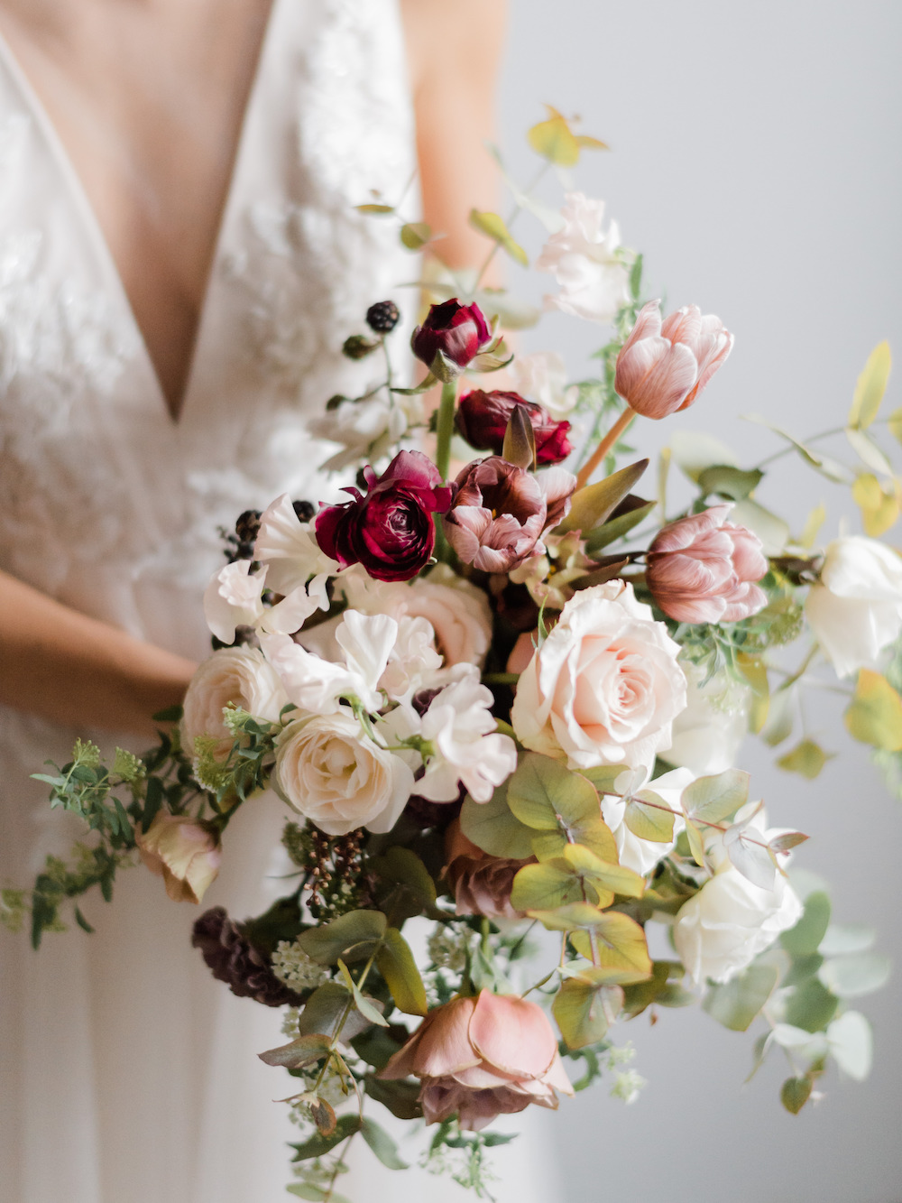 Burgundy, blush, cream bridal bouquet by Luster Floral Design at Sinclair and Moore Workshop, photo by Kristen Honeycutt Photo Co.jpg
