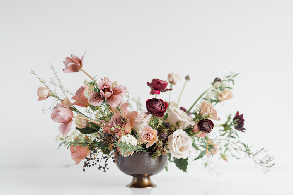 Moody wedding compote bowl by Luster Floral Design at Sinclair and Moore Workshop, photo by Kristen Honeycutt Photo Co.jpg