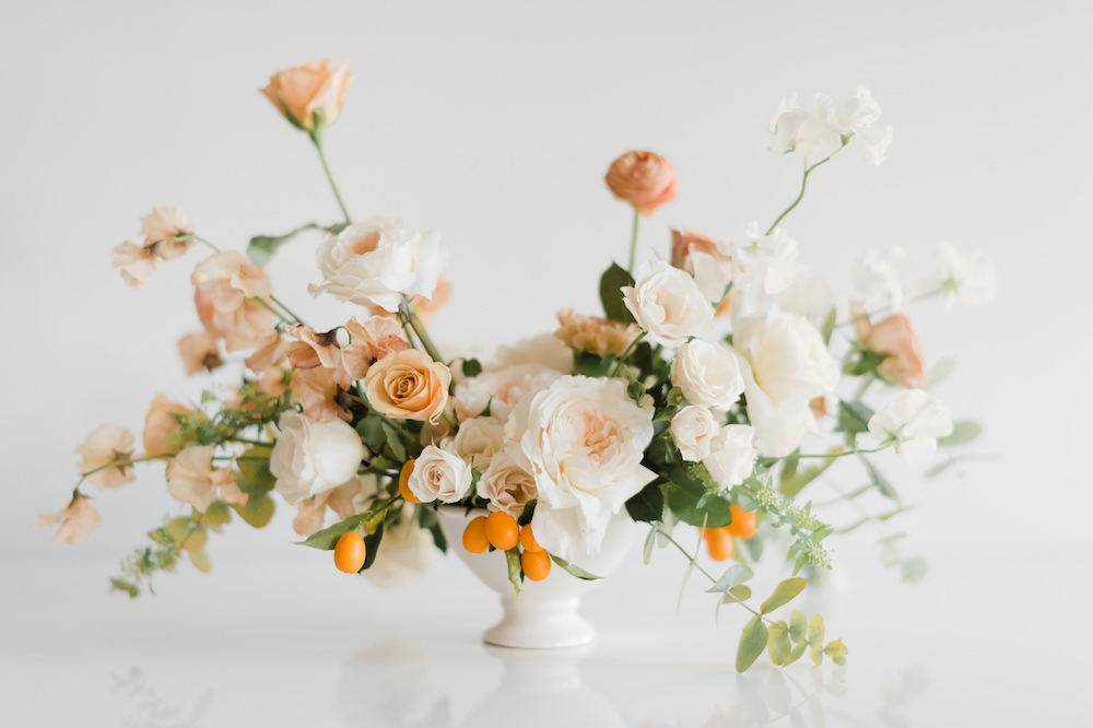 Rose compote wedding arrangement by Luster Floral Design at Sinclair and Moore Workshop, photo by Kristen Honeycutt Photo Co.jpg