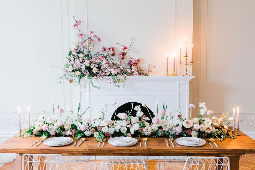Mantle and tablescape cherry, magnolia branches, Baltimore wedding  by Love and Luster Floral, ElizabethMPhotography.jpg