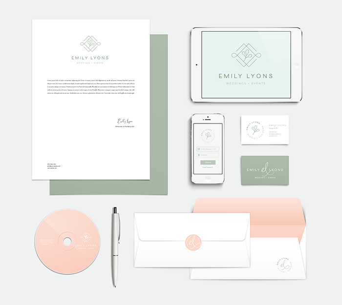 Emily Lyons uses consistent colors in her branding to maintain a cohesive visual brand identity.